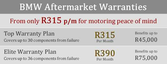BMW aftermarket warranty plans and prices for BMW 116 125 320i 325 530 735 X3 X5